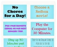 Kids Good Behavior Reward Coupons