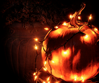 Pumpkin wrapped in lights