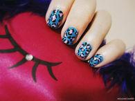 Blue leopard print art
