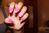 Pink bubble polkadot nail art