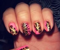 Gold and pink animal print nails