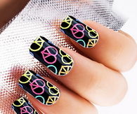Colorful black peace nails