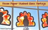 DIY Tissue Paper Stained Glass Turkeys