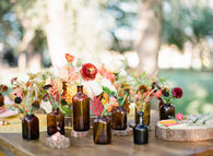Floral bottle wedding decor