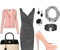 Pink & Gray Dressy Outfit Day or Evening