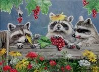 Racoons in the Fall by Joy Campbell