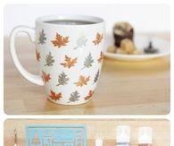 Stenciled leaf mug