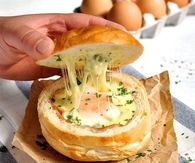 DIY Ham Egg and Cheese Bread Bowls