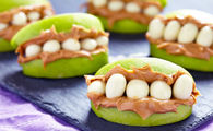 Apple and peanut butter teeth