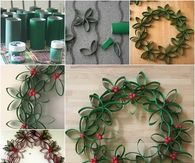 DIY Christmas Wreath From Paper Rolls