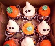 Halloween Ghost and Pumpkin Cupcakes