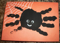 Hand print spider halloween card