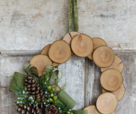 Wood slice and burlap christmas wreath