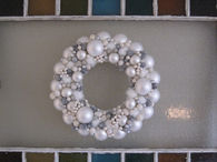 White christmas ornament wreath
