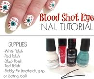 DIY Blood Shot Eye Nail Art