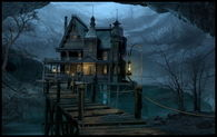 Haunted House with Rickety Bridge
