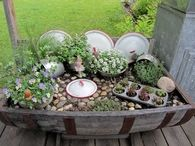 Fairy Garden Using Vintage Kitchen Items