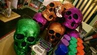Colorful glitter skulls
