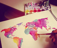 Watercolor of the world