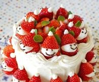 Cute Strawberry Snowmen Cake