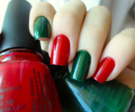 Christmas themed green and red nails