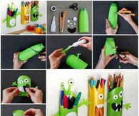 Monster pencil holders using shampoo bottles