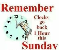 Remember Clocks Go Back On Sunday