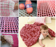 Baby blanket using pom poms