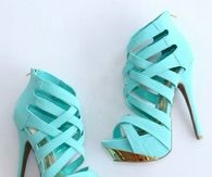 Turquoise Stiletto Sandals with Criss Cross Straps & Zippers