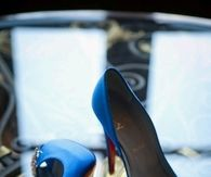 Royal Blue Pumps with Open Toe and Diamond Adornment