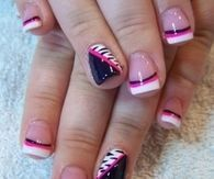 Cute Black, White & Hot Pink Nail Design