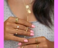 Pretty Pink Nails & Dainty Gold Rings