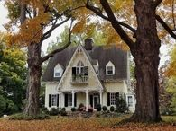 Pretty Victorian House in Autumn