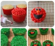 Making sesame street themed cupcakes for parties