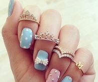 Adorable Pink & Blue Nail Art with Tiara Rings
