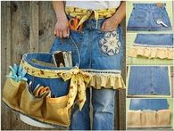 Making a garden apron using jeans