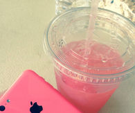 Pink iPhone and pink juice