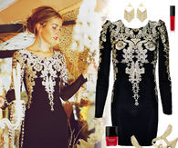 Elegant Black Mini Dress with Gold & White Sequins Ensemble