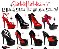 Starlet's Harlot's 12 Holiday Red & Black Platform Stilettos