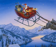 Santa's Sleigh Flying Over Winter Cabin - Darrel Bush