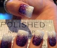 Purple and White Glitter Nails