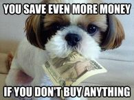 You save even more money if you don't buy anything!