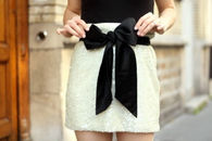 Ivory Glitter Holiday Party Skirt with Bow