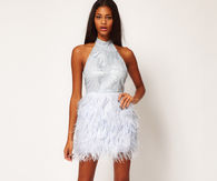 White Halter Dress with Feather Skirt