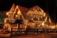Beautiful House Lit Up for Christmas