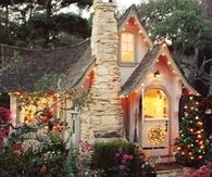 Cute Cottage with Christmas Lights
