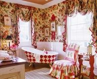 Cheerful Country Red Bathroom