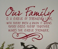 Our Family is a Circle of Strength and Love.....