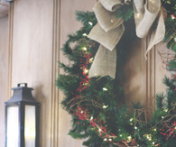 Christmas wreath and mantle decor