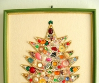 Framed Christmas Tree Made With Vintage Costume Jewelry